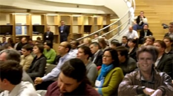 The crowd at MITX's event. As mentioned, even MacGyver showed up to take notes!
